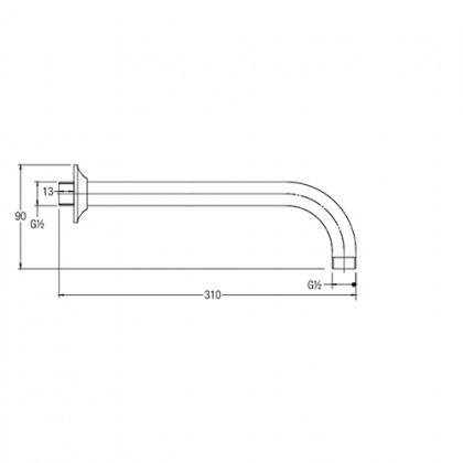 JOHNSON SUISSE BRASS SHOWER ARM AND FRANGE ,LENGTH:300MM