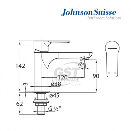 "JOHNSON SUISSE TRENTO 1/2"" BASIN PILLAR TAP"