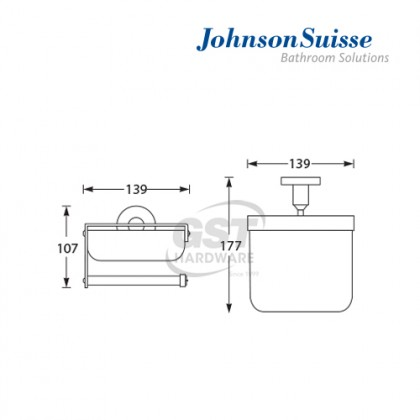 JOHNSON SUISSE COMMERCIAL TOILET ROLL HOLDER WITH COVER