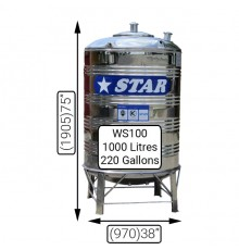 WS100(1000LTS)STAR S/S TANK(0.7MM)