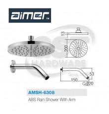"AIMER AMSH-6308  ABS RAIN SHOWER(8"") WITH ARM"
