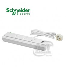 SCHNEIDER 3 WAY 13A SWITCHED 2M EXTENSION SOCKET WITH 2 USB