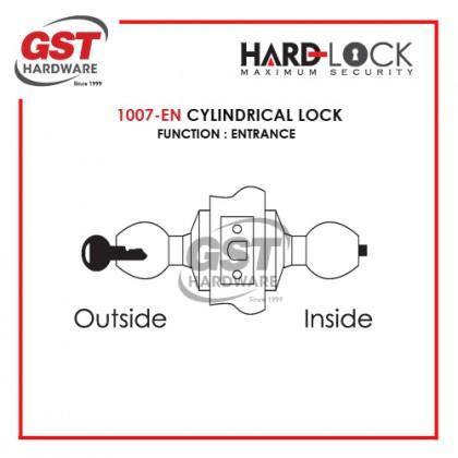 HARD LOCK 1007 CYLINDRICAL LOCK DOOR SET WITH KEY (ENTRANCE)