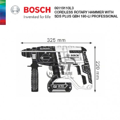 BOSCH CORDLESS ROTARY HAMMER WITH SDS PLUS GBH 180-LI PROFESSIONAL